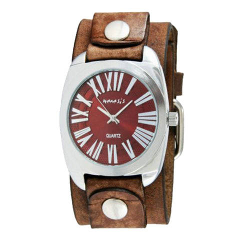 f.Red Retro Roman Watch with Faded Brown Leather Cuff Band 098BFBN