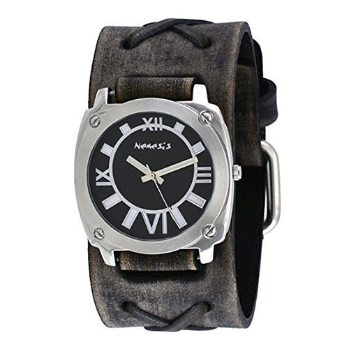Black Roman Numerals Watch with Faded Black X Leather Cuff Band KFXB066K