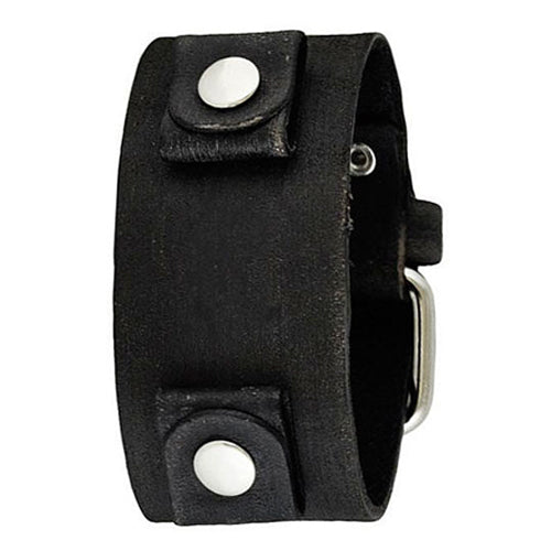 Junior Size Faded Black Leather Cuff Watch Band 20mm FGB