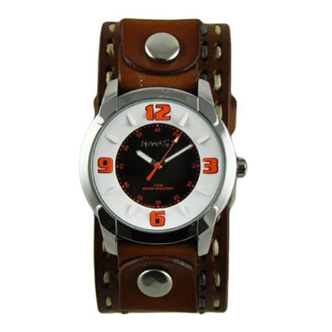 White Orange Embossed Watch with Brown Double Stitched Leather Cuff Band BDSTH106N