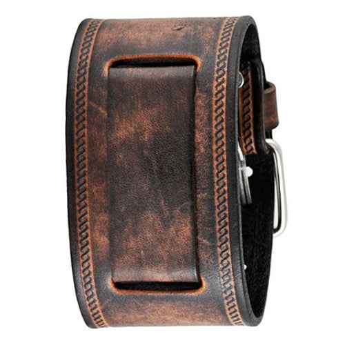 Light and Dark Brown Embossed Strip Wide Leather Watch Cuff Band 24mm BUIN