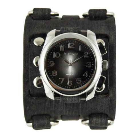 Black Oval Gradient Watch with Wide Detail Faded Black Leather Cuff Band FWB091K