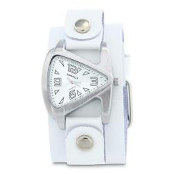 Small Silver Ladies Teardrop Watch with White Junior Size Leather Cuff Band WGB024S