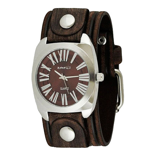 f.Red Silver Retro Roman Unisex Watch with Brown Embossed Stripes Leather Cuff Band BVEB098R