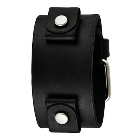 Basic Junior Size Black Leather Cuff Watch Band 20mm GB