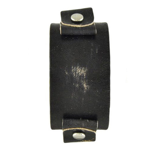 Black Small Vintage Brushed Leather Cuff Band VGB