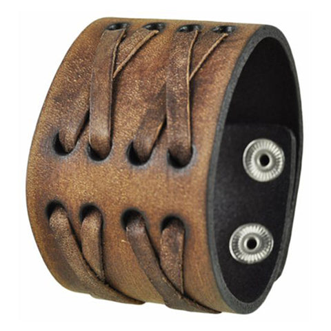 Nemesis Brushed Brown Wide X Crazy Horse Leather Cuff Bracelet Band 502B