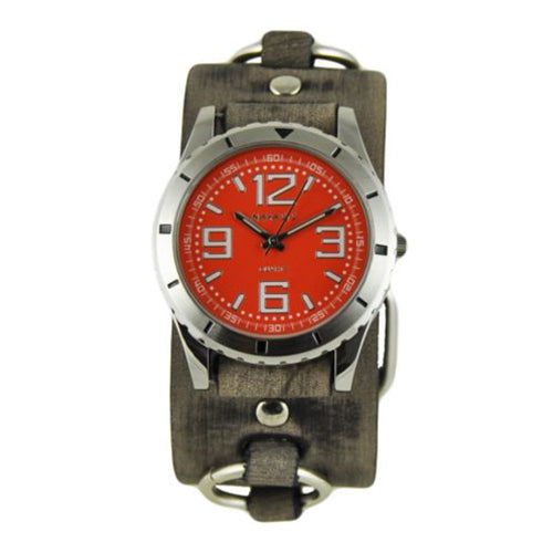 Red Sporty Racing Watch with Faded Black Ring Leather Cuff Band FRB096R