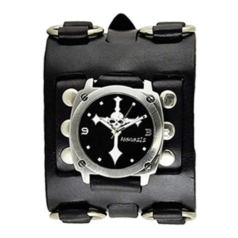 Black Skull Cross Watch with Black Wide Detail Leather Cuff Band WB927K