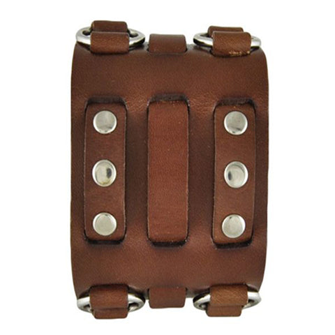 Brown Wide Detailed Leather Cuff Band BWB
