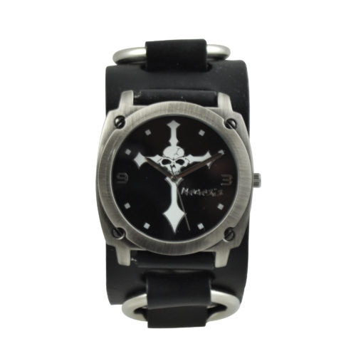 Black Skull Cross Watch with Black Leather Ring Band RB927K