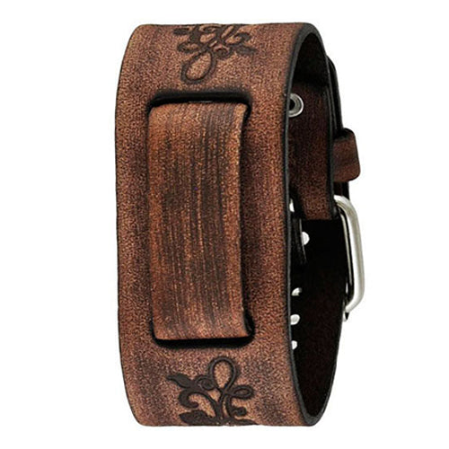Faded Brown Embossed Flower Design Leather Cuff Watch Band 22mm BVFB