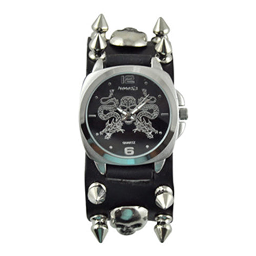 Black Dragon King of Skulls with Black Spike and Skull Leather Cuff Band SPS910K