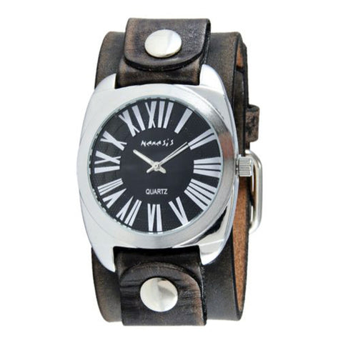 Black Retro Roman Watch with Faded Black Leather Cuff Band 098FBN-K