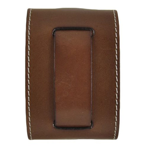 Brown Wide Leather Watch Cuff Band with White Stitching BSTW