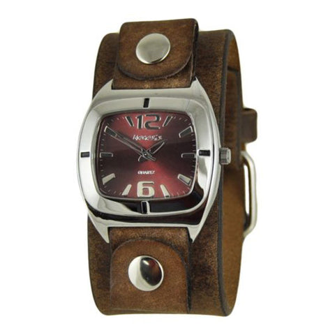 Red Retro Vintage Watch with Faded Brown Leather Cuff Band FBNB090R