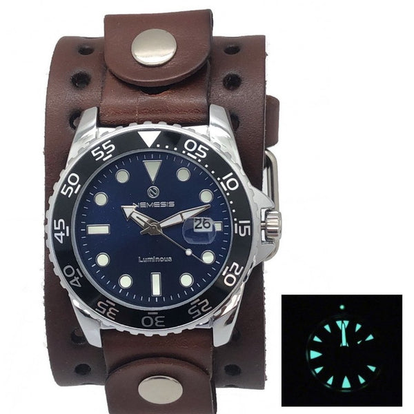 Nemesis luminous night vision diving watch with 1:75 wide dark brown leather cuff band DJB277L