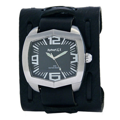 Black Wide Hexagon Watch with Black Wide X Leather Cuff Band WXB035K