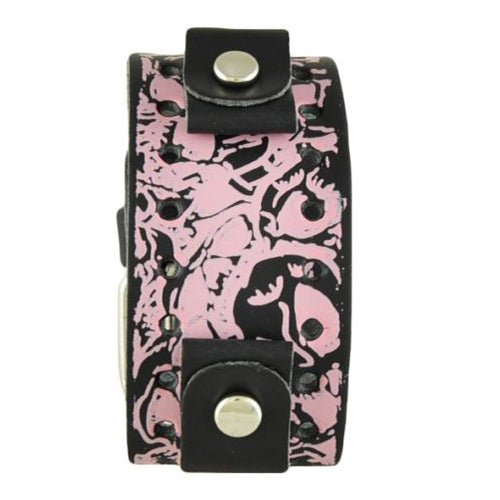 PinkBlack Printed Multi-Skulls Punk Rock Leather Watch Cuff Band PMS