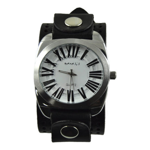 White Retro Roman Watch with Black Perforated Leather Band 098W-PLK