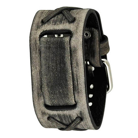 Faded Grey X Leather Cuff Watch Band 22mm FXB