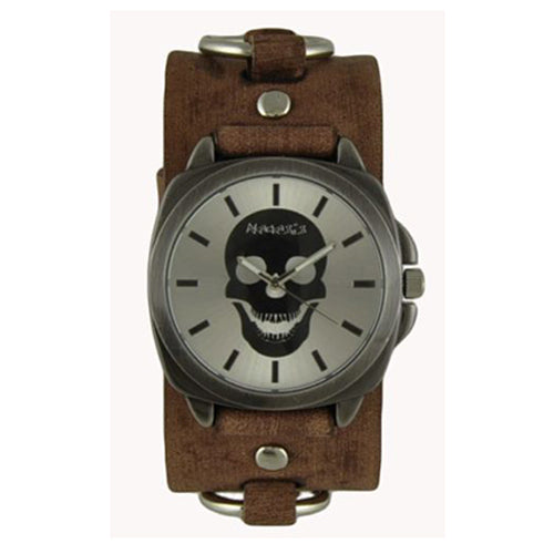 Silver Skull Head Watch with Faded Brown Leather Ring Cuff Band BFRB935S
