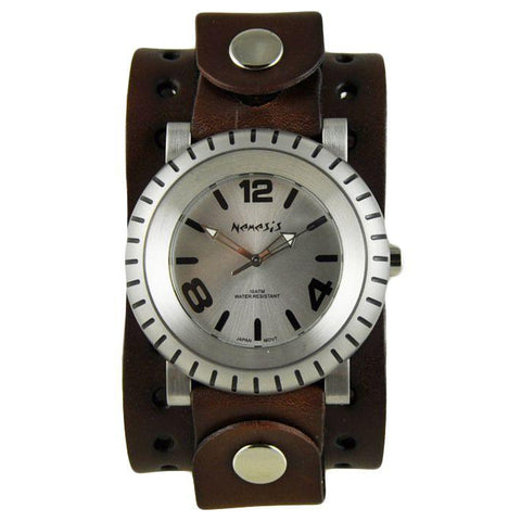 Silver Wheelman Watch with XL Basic Brown Leather Cuff Band BJB079S