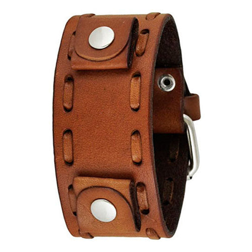 Brown Weaved Leather Cuff Watch Band 22mm LBTK