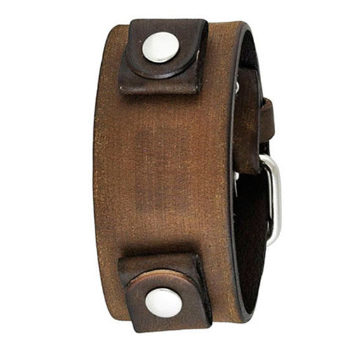 Classy Faded Brown Leather Watch Cuff Band 20mm FBNB