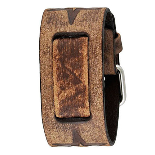 Faded Black Vintage Embossed Punk Rock Star Leather Cuff Watch Band 21mm FST