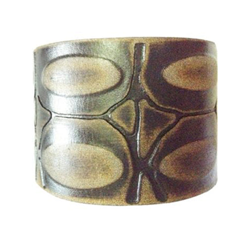 Brushed Black Turtle Shell Engraved Design Leather Bracelet Cuff Band 506K