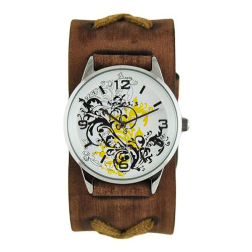 Yellow Plant Art Watch with Faded Brown X Leather Cuff Band BFXB827Y