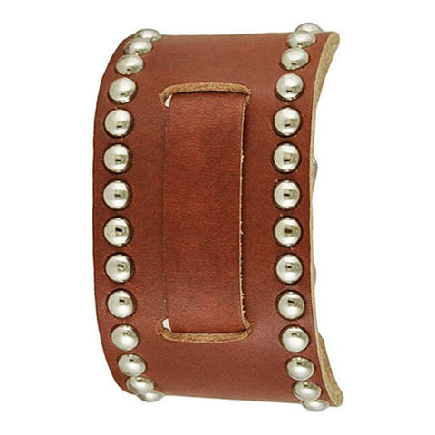 Brown Small Studded 2 Pc. Leather Cuff Watch Band 12mm BSD