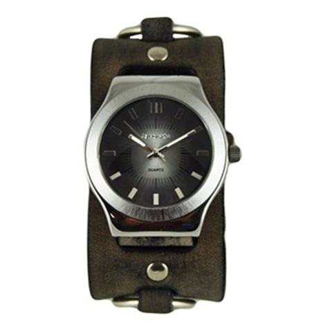 Black Sunray Watch with Faded Dark Brown Ring Leather Cuff Band DBFRB331K
