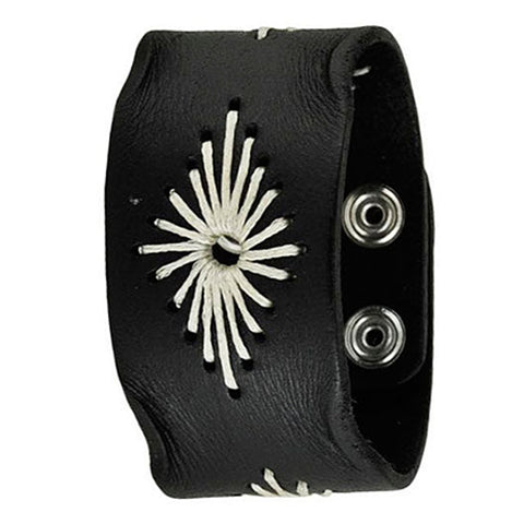 Black Diamond Stitched Leather Bracelet Cuff Band 508K