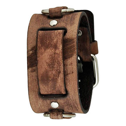 Faded Brown Ring Leather Cuff Watch Band 20-22mm BFRB