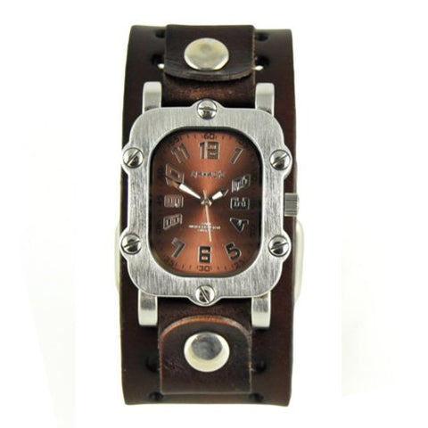 Brown Rugged Watch with Dark Brown Basic Leather Cuff Band DBN007B