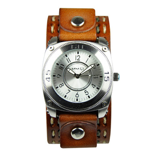 Silver Mix & Match Watch with Brown Double Stitch Leather Band Cuff BDSTH012S