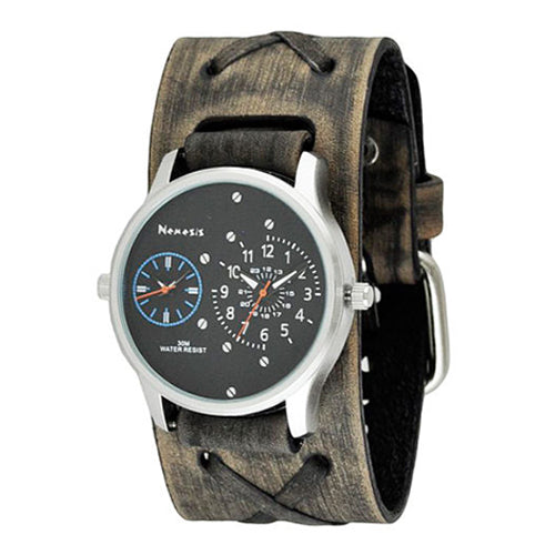 Black Blue Dual Time RD with Faded Dark Brown X Leather Cuff Band DFXB219L