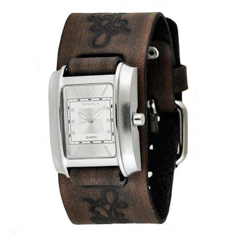 Vintage SilverWhite Square in Square Ladies Watch with Faded Dark Brown Embossed Flower Design Leather Cuff Band DBVFB013S