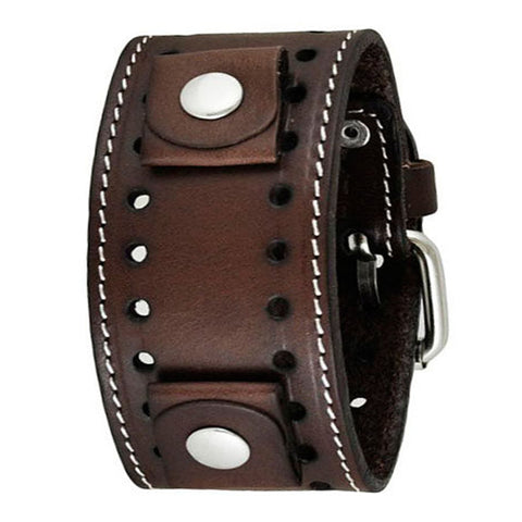 Dark Brown Single Stitched Leather Cuff Watch Band 20mm DBSTH
