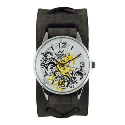 Yellow Plant Art Watch with Faded Black X Leather Cuff Band KFXB827Y