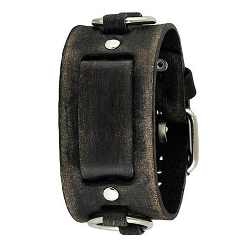 Faded Black Ring Leather Cuff Watch Band 20mm KFRB