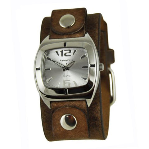 Silver Retro Vintage Watch with Faded Brown Leather Cuff Band FBNB090S
