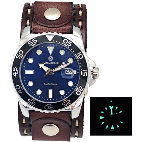 Nemesis Luminous night vision diving watch with Dark brown double heavy stitch leather cuff band . DDST277L