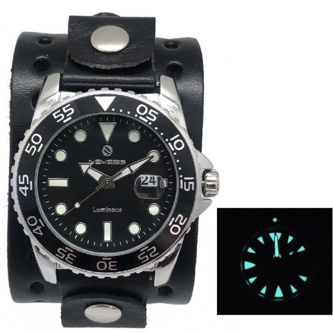 Nemesis luminous night vision diving watch with 1-75 wide black leather cuff band JB277K