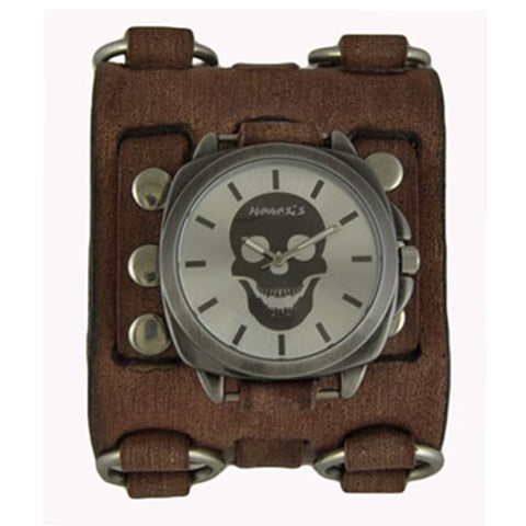 Silver Skull Head Watch with Faded Brown Wide Detail Ring Leather Cuff Band BFWB935S
