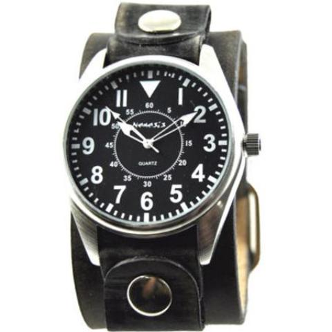 Black Unique Watch with Classy Faded Black Leather Cuff Band 095K-FBNK