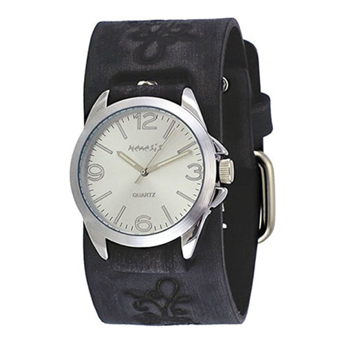 Nemesis #VFB221S Floral Charcoal Black Wide Leather Band Brown Dial Analog Watch
