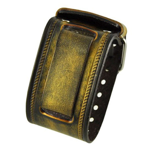 Gold Black Embossed Leather Cuff Band GIN